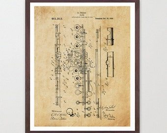 Flute Patent - Flute - Flute Poster - Flute Art - Flute Wall Art - Woodwind - Jazz Band - Marching Band - Marching Band Art - Music Poster