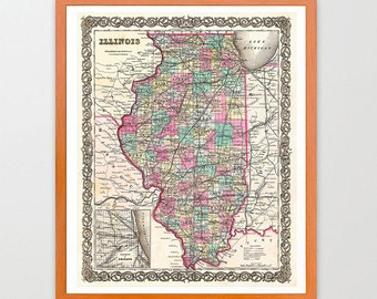 Illinois Map - Illinois Map Art - Map Decor - Illinois Decor - Chicago Art - Illinois Wall Art - Old Map - Map Wall Art - Map Decor - State