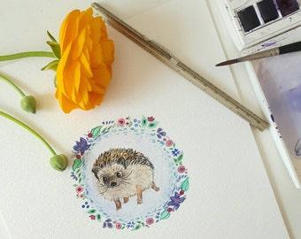 Little hedgehog painting- original watercolour  (297x210mm)