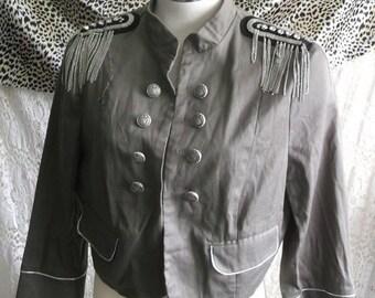 punk/steampunk khaki military style jacket.size 16 with diamante embellishments.