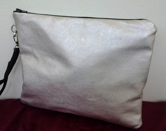 Vegan faux leather wristlet two sizes Bridesmaids clutch BBsCustomClutches silver prom clutch prom wristlet prom cluitch