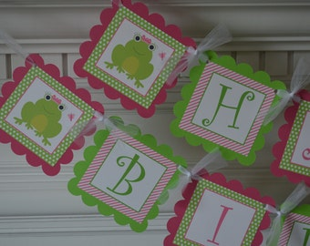 Frog Theme Banner - Frog Party - Frog Birthday Banner - Pink and Green Frog Banner -  Frog Birthday - Frogs Party Packs Available