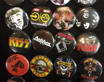 002 Glam Heavy Metal Hard Rock Southern Button, Pin, Badge