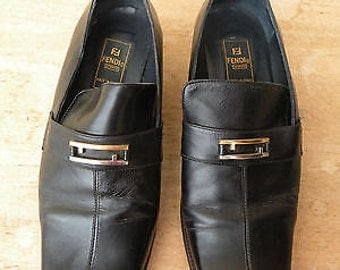 Spring/Summer // Vintage Black FENDI Leather Classic Shoes // End of Summer Shoes Clearance Sale