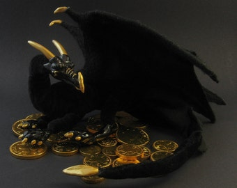 Black and gold dragon - fantasy ooak posable art doll