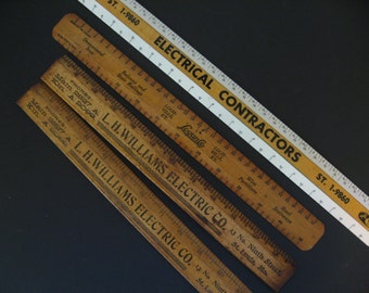 Vintage wooden advertising rulers. Your Choice! Crest Electrical, LH Williams Electric, Logan Co. St. Louis and Louisville. 1930s