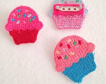 SALE Crochet Sprinkle Cupcake Brooch Pink Red Blue (Pick One)
