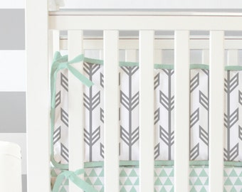 Mint and Gray Arrow Crib Bumpers | Mint and Gray Arrow Collection