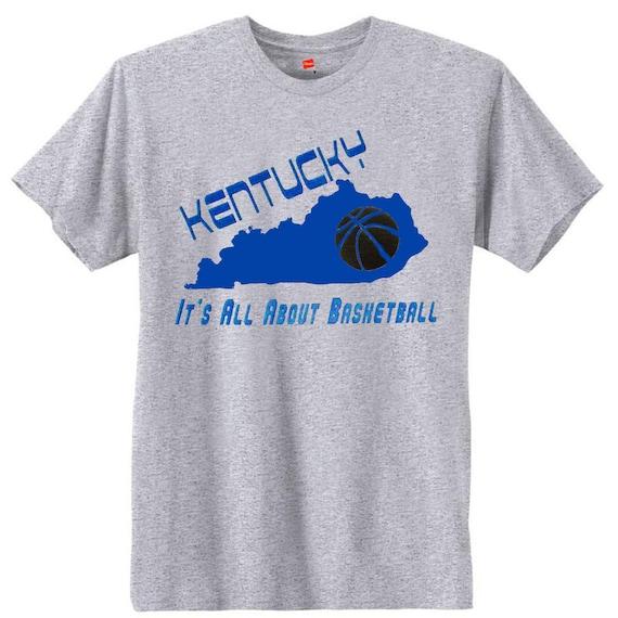 Kentucky it 39 s all about basketball t shirt u s custom for Custom t shirts lexington ky