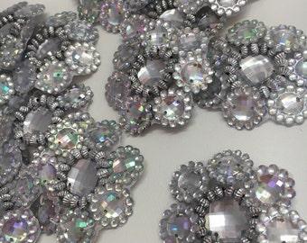 4 x Large Ab acrylic rhinestone embellishments