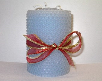 "Powder Blue 4"" Rolled Beeswax Triple-Wick Pillar Candle"