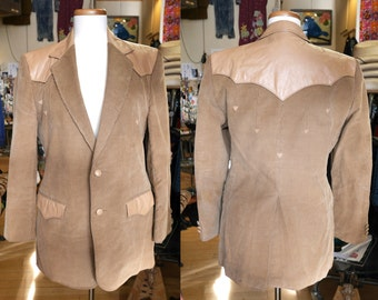 Vintage Corduroy Blazer w Triangle Detailing Tan Brown Women's