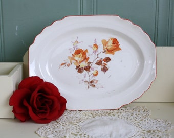 Shabby Rose Transfer Plate Red Accent Lido WS George Platter