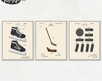 HOCKEY PATENT 3-PACK, Vintage Fine Art Print Posters, Colour, Blueprint, or Black and White
