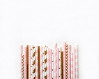 25 Metallic Gold and light Pink Sweet Princess colours Paper Straws