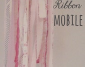 Fabric Ribbon Mobile,  Mobile, Fabric Chandelier - Pretty Pink, One of a Kind - Ready to Ship // Boho Chic // Glamping