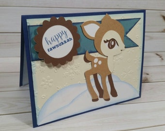 Happy Hanukkah Card, Silly Pun, Hanukkah Pun, Handmade Greeting Card, Unique Card, Jewish Holiday Card, Chanukah, First Hanukkah