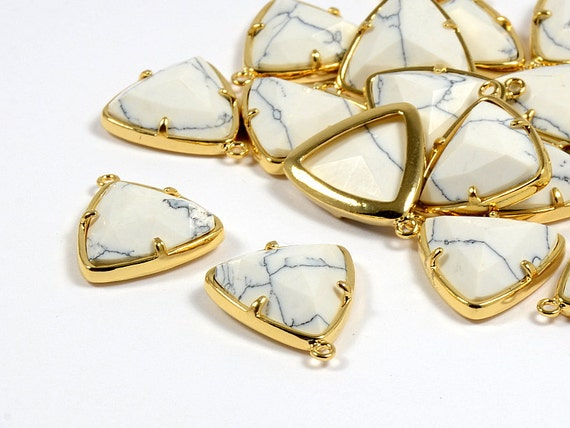 White Howlite Triangle Pendant/ Gold Frame Gemstone Charm with White Howlite in Anti-tarnish Gold Plating  - 2 pcs/ order