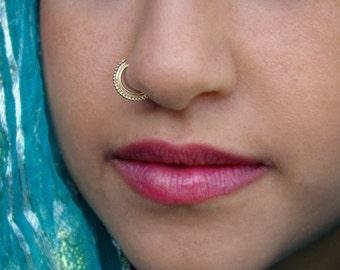 Gold nose ring, Aztec nose ring, Indian nose ring,  nose ring, septum ring, 14 k gold nose ring, nostril ring, tribal nose hoop, burning man