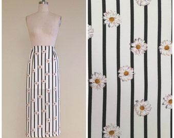 90s Daisy Maxi Skirt // 1990s vintage floral print black and white vertical stripe skirt elastic waist grunge festival small medium s m