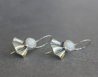 Gemstone earrings, Opal earrings, Silver dangle earrings, white opal earrings.