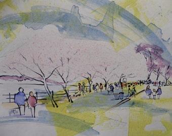 Cherry Blossoms, Washington D. C. Blossoms, Spring Blossoms, Cerry Blossom Festival, Street, Tidal Basin Cherry Walk by Larry Lerew 120209