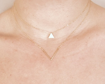 Gold necklace, Simple and Dainty 16k Gold Fill Necklace, Layering Necklace, Gift