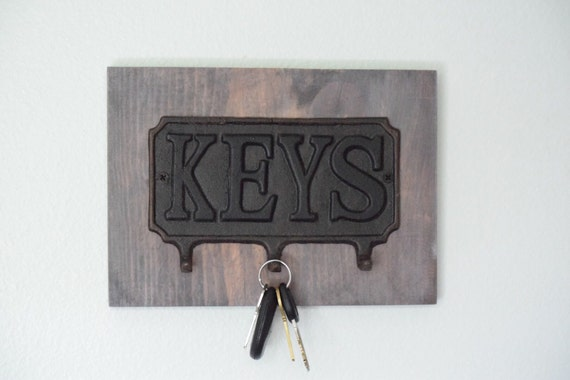 Https Www Etsy Com Listing 293149553 Key Hanger Cast Iron Key Decor Grey Wood