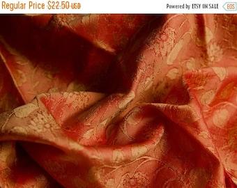SALE EVENT 1920s Antique Silk Fabric Fine jacquard Orange & Ochre