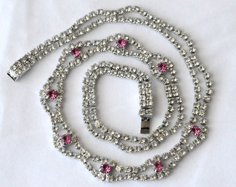 Vintage Rhinestone Necklace, Pink And Clear Rhinestone Necklace, Rhodium Plated, 217