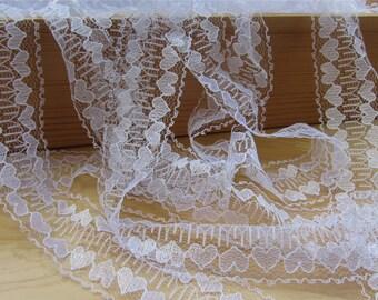 snow white lace trim ,3.5cm beige Lace Trim for sewing ,DIY vintage lace ribbon,heart lace ,wedding invitationlacetrimming