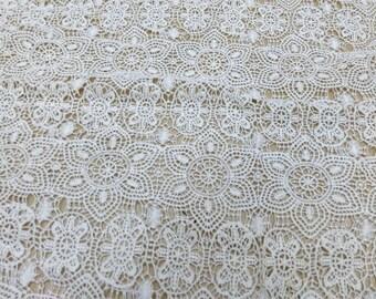 Cotton Lace fabric, Wide Scalloped Lace fabric 120CM*1yard,White Lace Fabric ,ecru white Dress Lace , wedding lace fabric