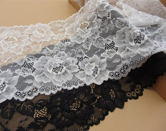 "ivory white wedding lace,Stretch Lace Trim - Extra Wide Lace Trim, 7"" Wide Lace Trim- white"