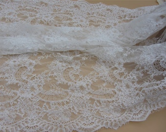 Off White Wedding corded Lace Fabric, Ivory lace fabric, Wedding lace, Spanish style, Gorgeous Ivory Alencon Lace Fabric, sold per yard