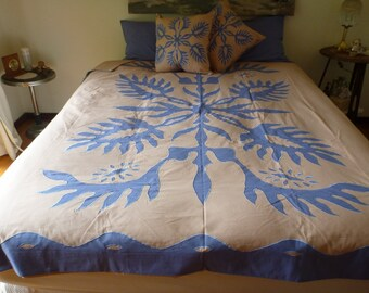 Jack Fruit Leaf Applique Embroidered Quilt Cover Set - Double Size