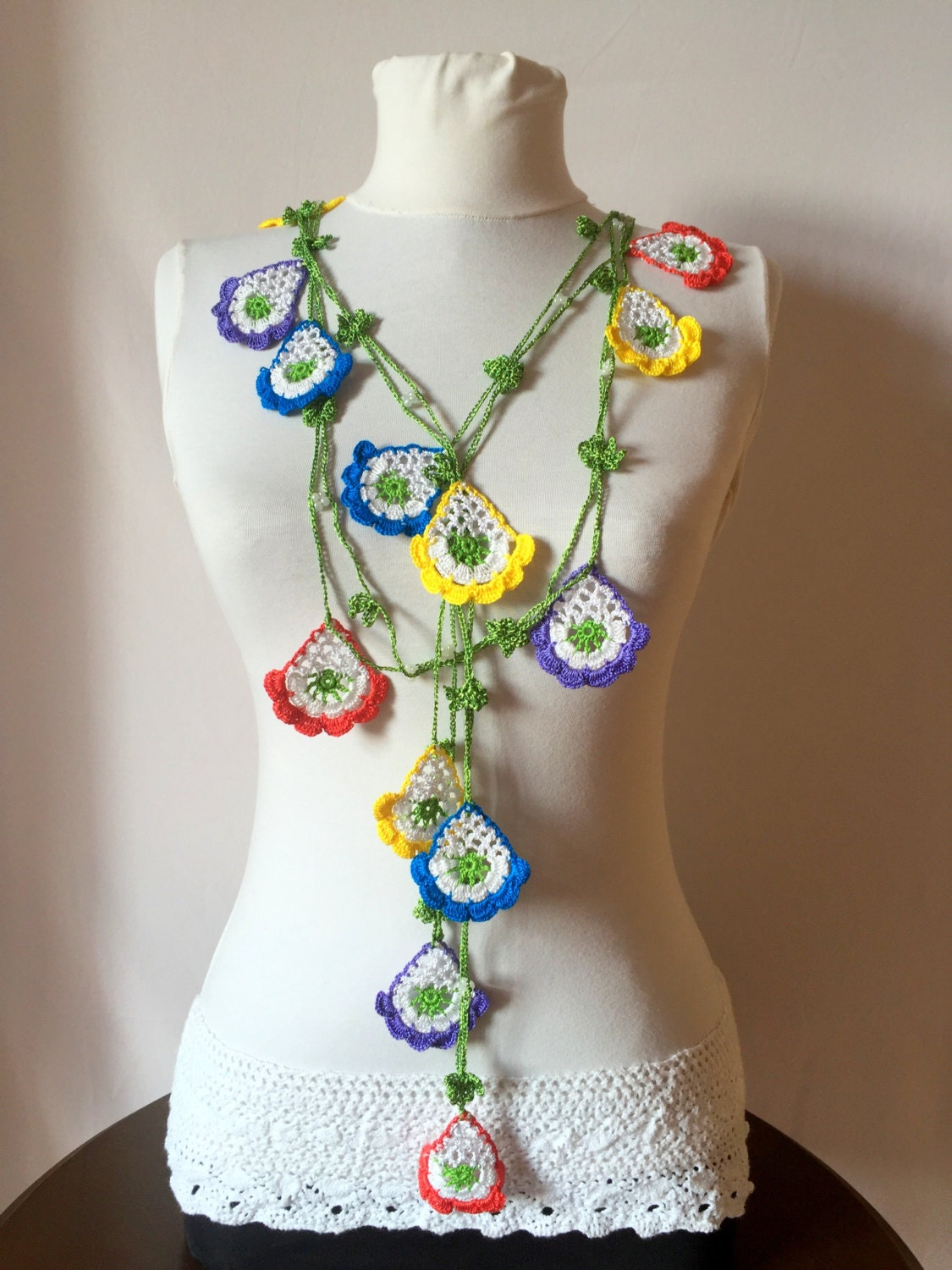 colorful lariat necklace crochet turkish necklace oya scarf