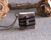 Rustic Leather Wearable Diary, Mini Book Pendant Necklace, Tiny Diary, Book Charm, Blank Paper, Natural Stone, Personal Keepsake, Small Book