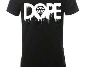 Melting Dope Men's Elongated T-Shirt Street Wear, Curved Hem Hipster