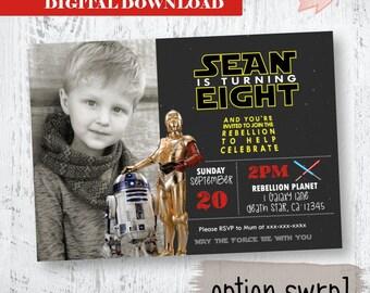 Star Wars Photo Invitation.  c3po and r2d2 Birthday Invitation. Yoda Invitation. R2D2 Star Wars Invitation. Star Wars Photo Invitation.Robot