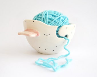 Ceramic Chubby Platypus Yarn Bowl, Knitting Bowl, Wool Bow. Decorated with Yellow Polka Dots Inside. Ready To Ship
