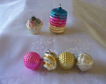 Various Glass Christmas Ornaments Set Of Six
