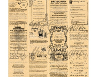 Lot 12 Banishing Spells - Book of Shadows Pages - Like Charmed - Witchcraft - Wicca - Real Magic Spells - Spell Book Pages - Wicca Poster