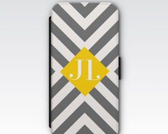 Wallet Case for iPhone 8 Plus, iPhone 8, iPhone 7 Plus, iPhone 7, iPhone 6, iPhone 6s, iPhone 5/5s - Grey, White Yellow Stripes Monogram