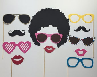 Afro Photo Booth Props, afro birthday party props, wedding photo props