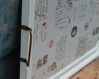 Vintage Shabby Chic Cottage Farmhouse Ivory Wood Tray