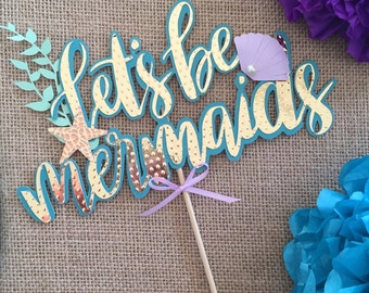 Mermaid cake topper, under the sea cake topper, mermaid theme party