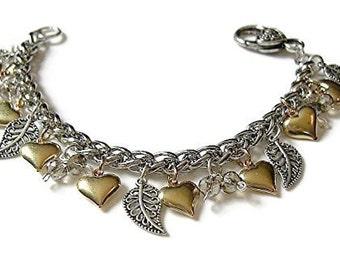 2-Tone Charm Bracelet - Lovely Two Tone Heart Leaf and Crystal Charm bracelet