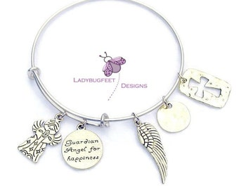 GUARDIAN ANGEL for HAPPINESS Bangle,Fully Adjustable Wire bangle,Gold Plated Bronze charm Bracelet,One Size Fits Most