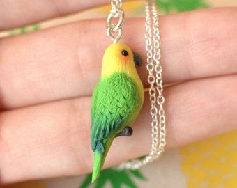 Little Hand Sculpted Parrot Pendant on Chain