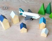Happy Little Neighborhood - Wood Block Houses - Shades of Blue